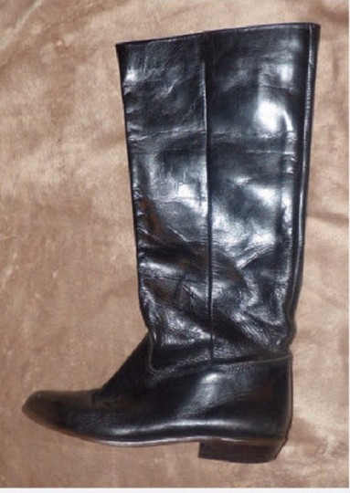 Pappagallo Retro Look Almond Toes Square Low Heels Pull Excellent Condition black leather Boots Image 4