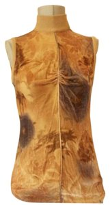 Emanuel Ungaro 'parallele Excellent Vintage Sleeveless Mock-t Neck Dressy Or Casual Top yellows and browns