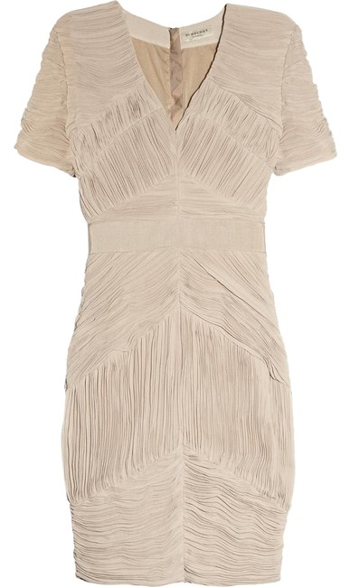 Item - Nude/Beige New Ruched Pleated Chiffon Us8 It42 Uk10 Knee Length Cocktail Dress Size 8 (M)