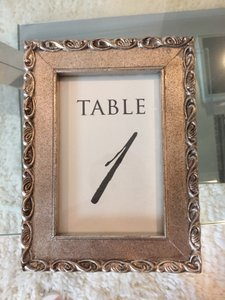 14 Champagne And Black Table Number In Gold Picture Frame