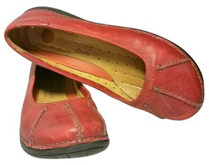 Clarks Leatherr Top Stitching Red Flats