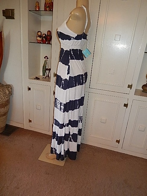 white and dark gray Maxi Dress by Letarte Swimwear New With Tags Hawaii Maxi Fun Cool Straps /Gray Image 7