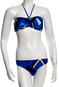 Emilio Pucci Blue black print Emilio Pucci two-piece swimsuit 12 48 L Large