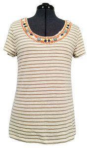 Banana Republic Embellished Size M T Shirt Beige, Grey, Multicolor Neck