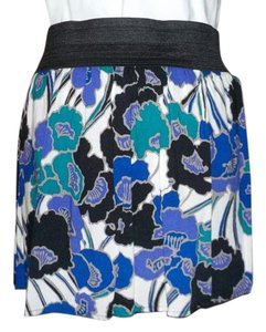 HeartSoul Floral Flower Flowy Flounce Mini Skirt White/Blue/Purple/Black