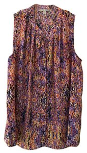 Collective Concepts Flowy Designer Print Sleeveless Silk Top Multi