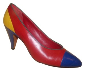 Neiman Marcus Dressy Or Casual Color-block Look Toes Red/blue/yellow Fun Mod Look textured red leather and white leather Pumps