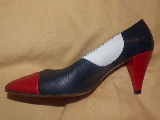 Neiman Marcus Dressy Or Casual Color-block Look Almond Toes Red/White/Blue Large blue, white red leather with polka dots Pumps Image 3
