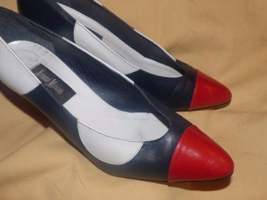 Neiman Marcus Dressy Or Casual Color-block Look Almond Toes Red/White/Blue Large blue, white red leather with polka dots Pumps Image 4