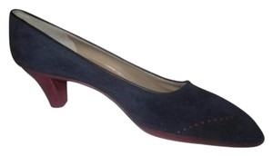 Salvatore Ferragamo Style Perforated Rockabilly Wing-tips Kitten Heels Mint Condition blue suede red leather with spectator design Pumps