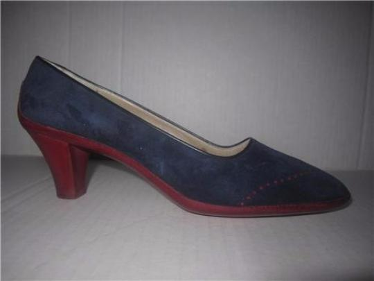 Salvatore Ferragamo Style Perforated Rockabilly Wing-tips Kitten Heels Mint Condition blue suede red leather with spectator design Pumps Image 3