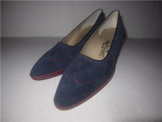 Salvatore Ferragamo Style Perforated Rockabilly Wing-tips Kitten Heels Mint Condition blue suede red leather with spectator design Pumps Image 4