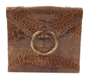 Vintage Leather Cluth Brown Clutch