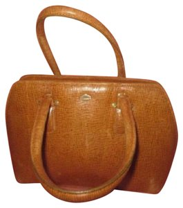 I Santi Xl Satchel/Tote Lizard Embossed Perfect For Everyday Excellent Vintage Made In Italy Satchel in chestnut brown