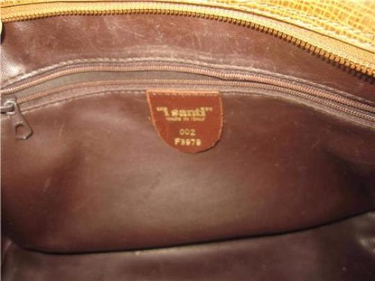 I Santi Xl Satchel/Tote Lizard Embossed Perfect For Everyday Excellent Vintage Made In Italy Satchel in chestnut brown Image 2
