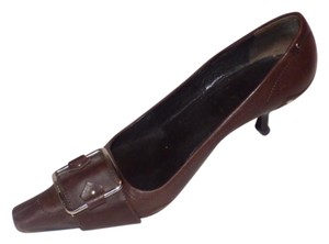Prada Dressy Or Casual Kitten Heels Chrome Buckles Square Pointy Toe Excellent Condition brown leather Pumps