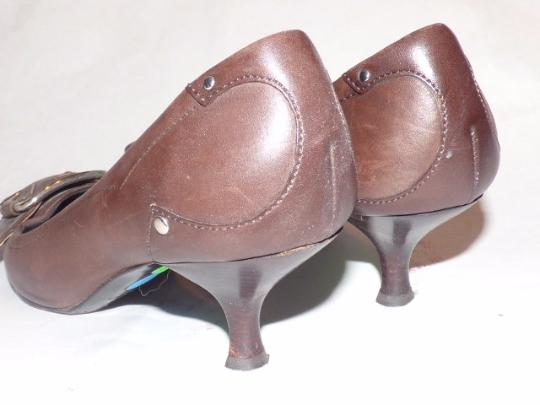 Prada Dressy Or Casual Kitten Heels Chrome Buckles Square Pointy Toe Excellent Condition brown leather Pumps Image 1