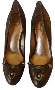 Anthropologie Miss Albright Shimmer Jeweled Bronze Pumps