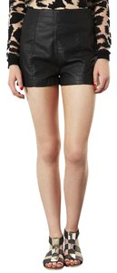 Topshop Leather High Waisted High Waist Hot Faux Leather Mini/Short Shorts Black