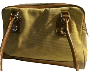 Etienne Aigner Chrome Hardware Bowling Style Excellent Vintage Great Everyday Satchel in shades of brown leather & canvas