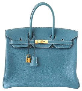 Herms Hermes Birkin Tote in Blue Jean