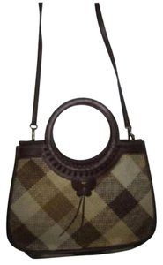 Etienne Aigner Two-way Style Lots Of Pockets Plaid Body Butterfly Accents Satchel in camel leather and cream/camel wicker
