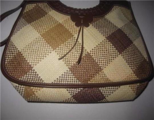 Etienne Aigner Two-way Style Lots Of Pockets Satchel/Shoulder Plaid Butterfly Accents Satchel in camel leather and cream/camel wicker Image 1