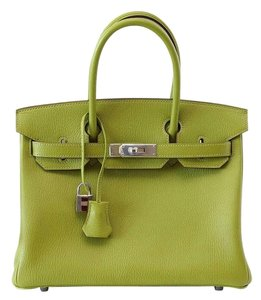 Hermès Birkin Birkin 30 Chevre Leather Tote in Green Vert Anis