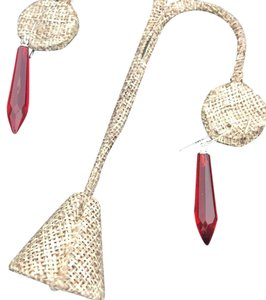 Vintage Red Red Dangling Earings Gold Filled