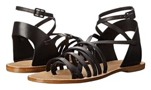 Band of Outsiders Gladiator Leather Strappy Summer Flat Black Sandals