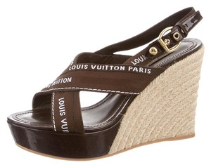 Louis Vuitton Patent Leather Lv Monogram Gold Hardware Logo Brown, Beige Platforms