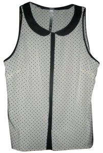 Kensie Polka Dot Sleeveless Top Cream/Black