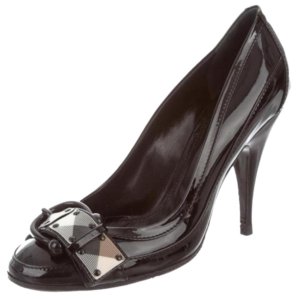 Burberry Beige Detail Black Patent Leather Nova Check Detail Beige Round-toe 38.5 Pumps e83d5e