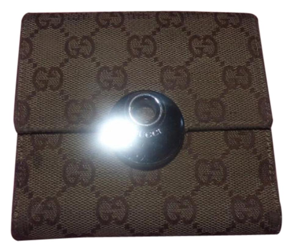 2084df3d89c0 Gucci G Logo Print Canvas/Brown Leather Vintage Wallet/Designer ...