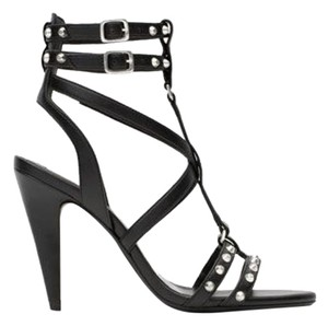 Zara Stiletto Strappy Black/ Silver Studs Sandals