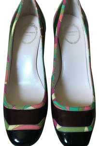 Emilio Pucci Brown with pucci print piping Pumps
