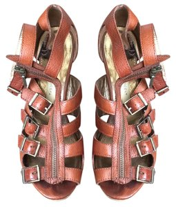 Twelfth St. by Cynthia Vincent Gladiator Jagger Brown leather Wedges