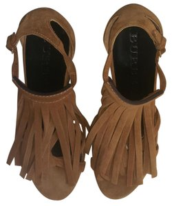 Burberry Dust Bag Cowhide Leather Size 9.5 Color: Made In Italy Caramel Wedges
