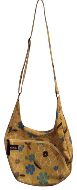 Item - Sydney Satchel Gold/Yellow with Blue Turquoise Brown White Accents Cotton Cross Body Bag