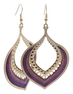 Other Purple Drop Goldtone Fashion Earrings w Free Shipping