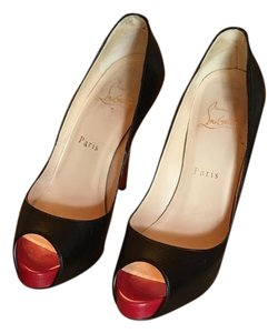 Christian Louboutin Black Leather BLACK/RED Pumps