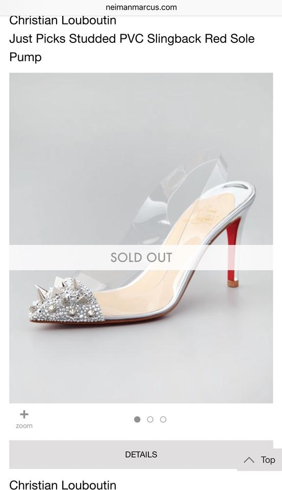 9176bb0a8c7 Christian Louboutin Silver/Clear Just Picks Spike Strass Pvc Slingback  Pumps Size US 7 Narrow (Aa, N) 53% off retail