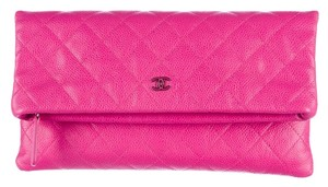 Chanel Fold-over Pink Fuchsia Clutch