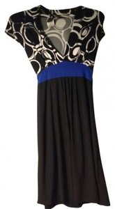 Wrapper short dress Black/White/ Royal Blue on Tradesy