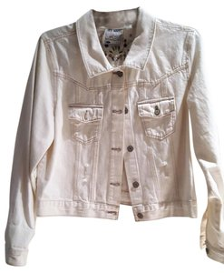 Old Navy White Distressed Beaded Womens Jean Jacket
