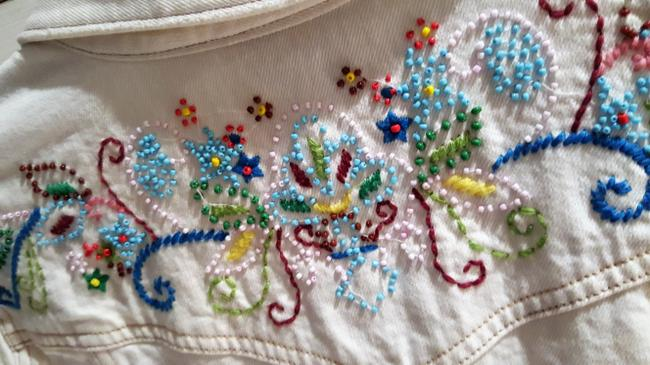 Old Navy White Distressed Beaded Womens Jean Jacket Image 2
