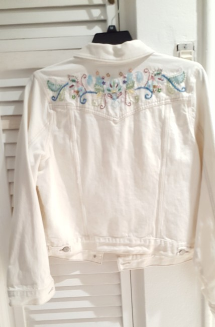 Old Navy White Distressed Beaded Womens Jean Jacket Image 3