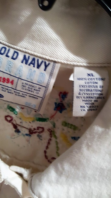 Old Navy White Distressed Beaded Womens Jean Jacket Image 5