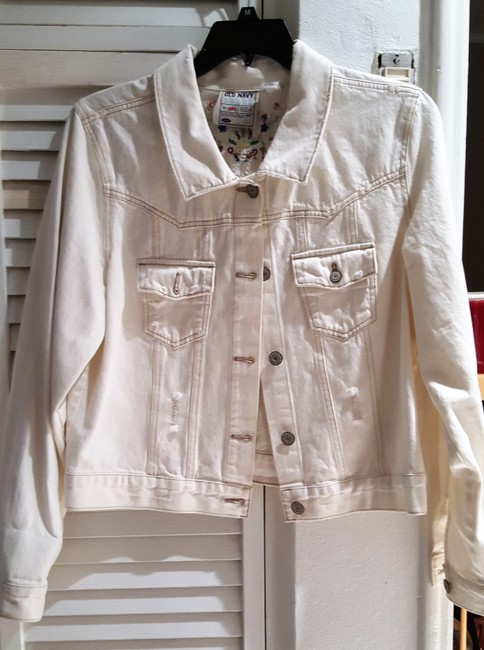 Old Navy White Distressed Beaded Womens Jean Jacket Image 7