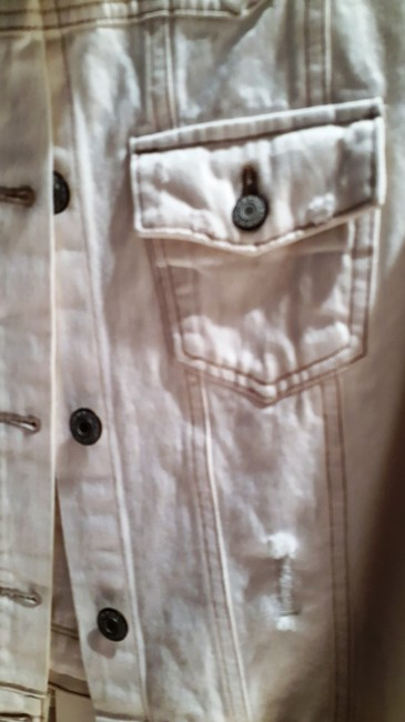 Old Navy White Distressed Beaded Womens Jean Jacket Image 8